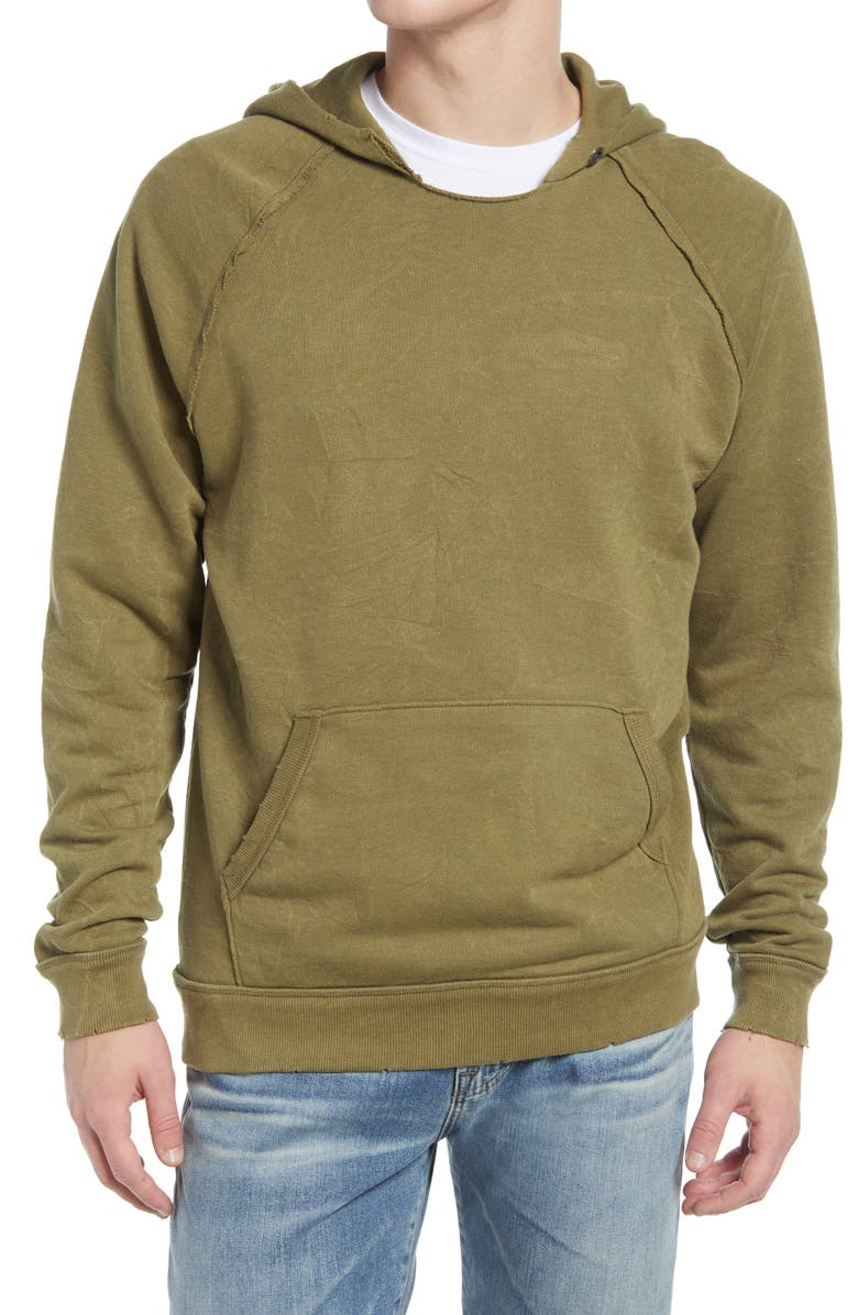 ALTERNATIVE Crinkle Pullover Hoodie, Main, color, MOSS GREEN CRINKLE