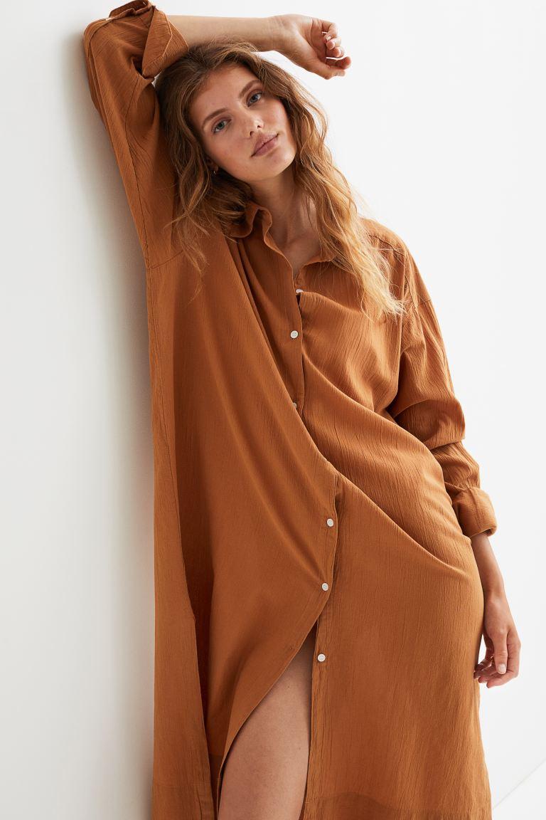 Cotton Shirt Dress - Rust brown - Ladies