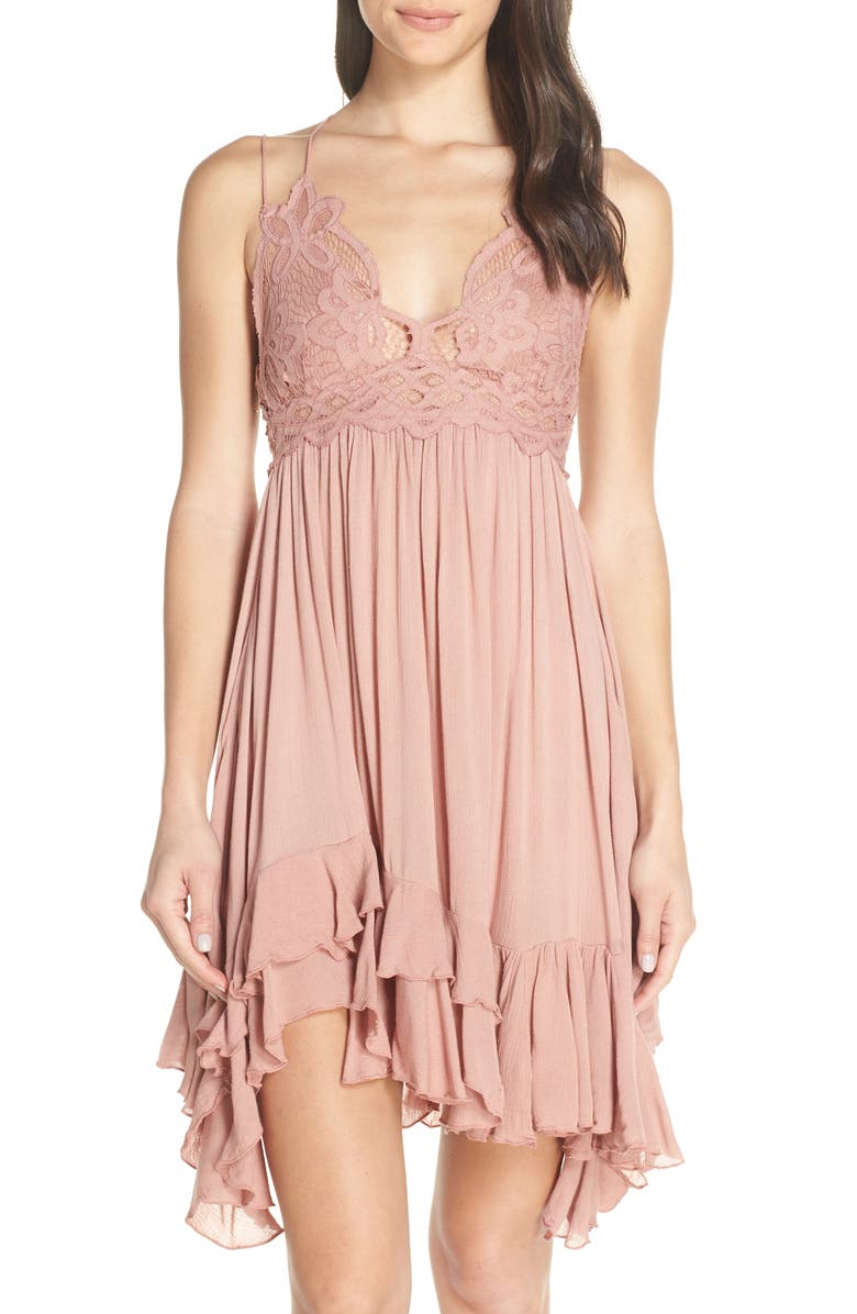FREE PEOPLE Intimately FP Adella Frilled Chemise, Main, color, ROSE