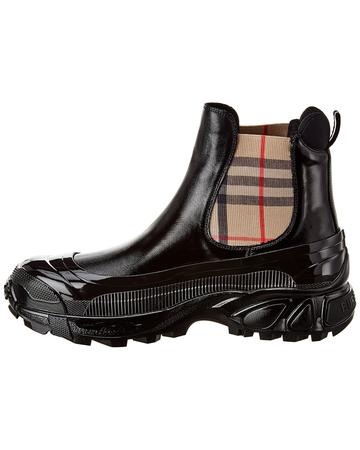 Vintage Check Detail Coated Canvas Chelsea Boot