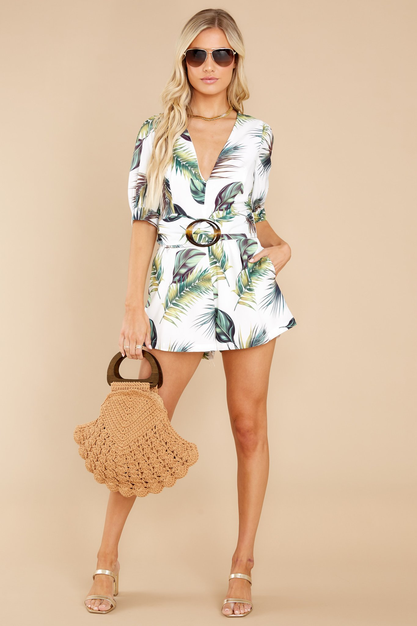 Vacation Sights White Tropical Print Romper