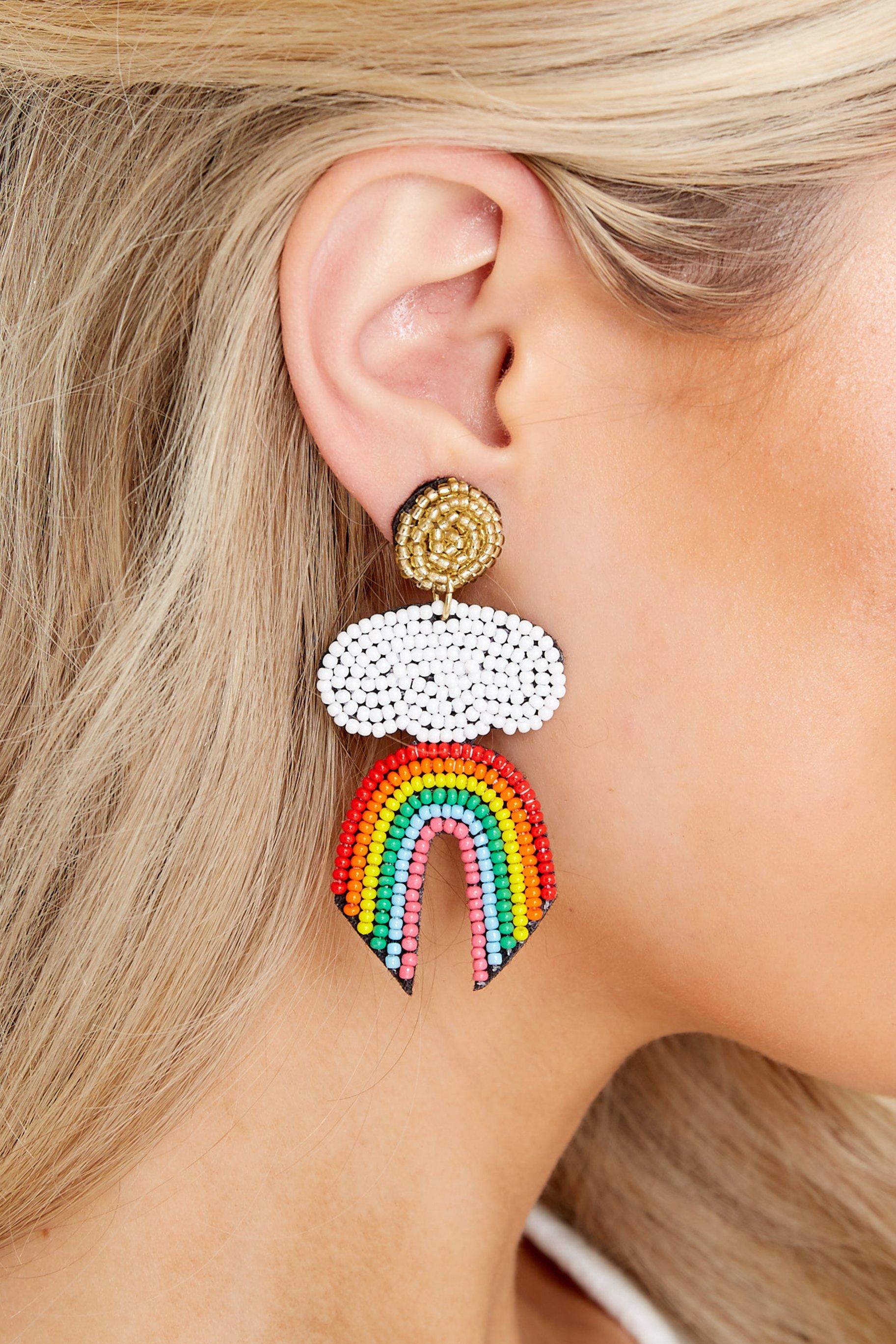 Clear Skies Rainbow Beaded Statement Earrings