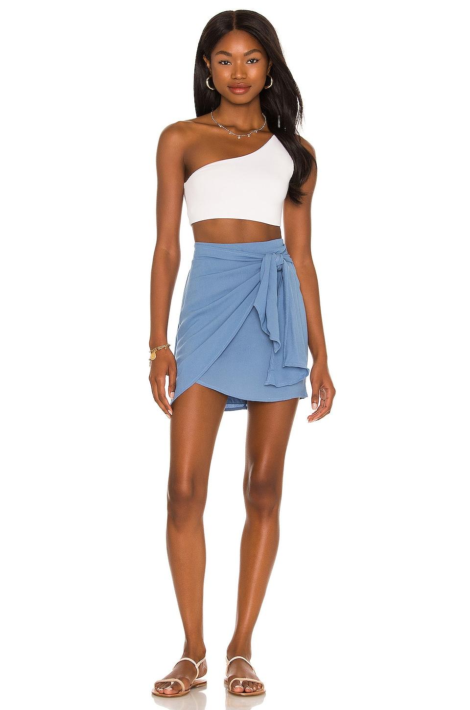 Indah Cassiel Sarong Mini Skirt in Sky | REVOLVE