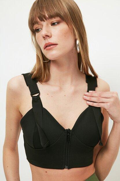 Women's Zip Detail Black Crop Blouse