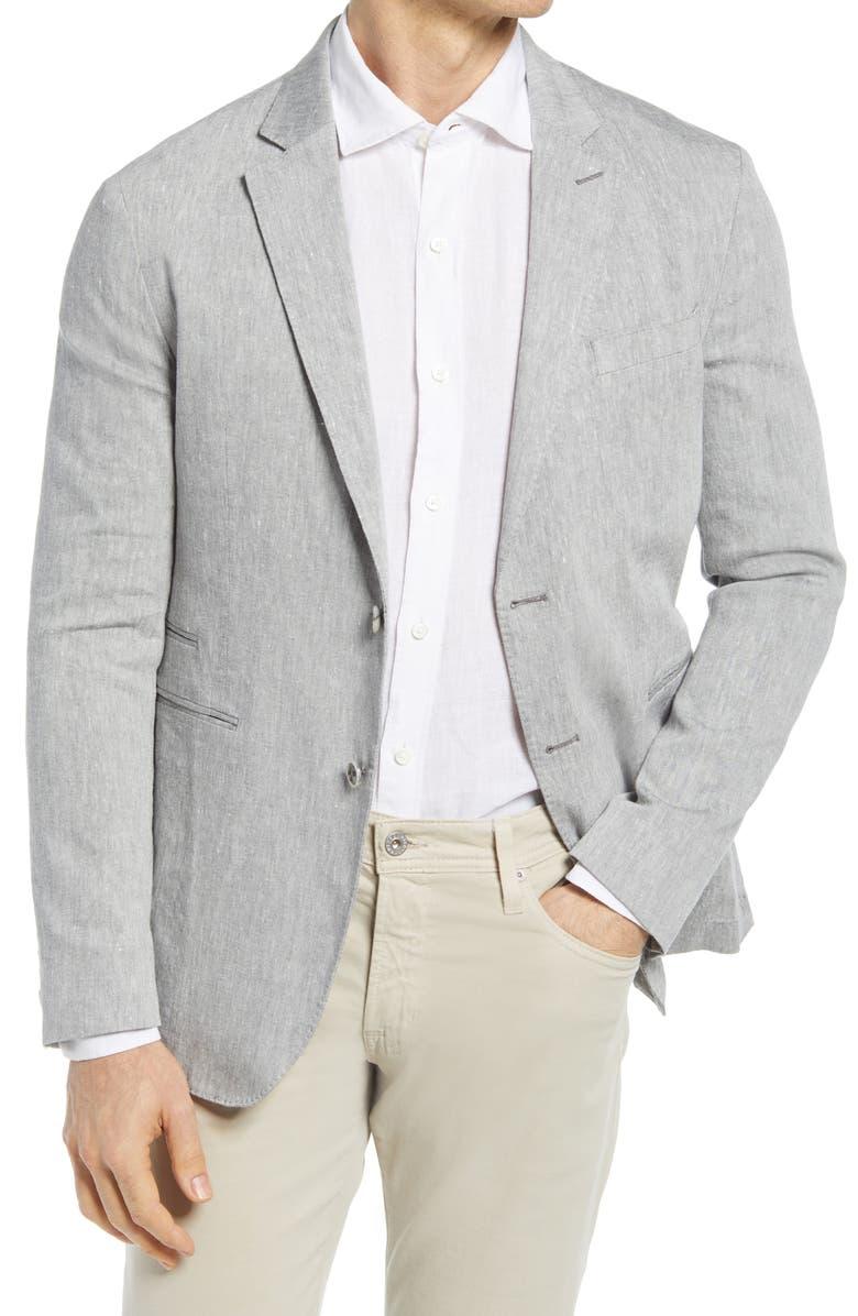 BUGATCHI Classic Fit Stretch Linen & Cotton Blazer, Main, color, CEMENT
