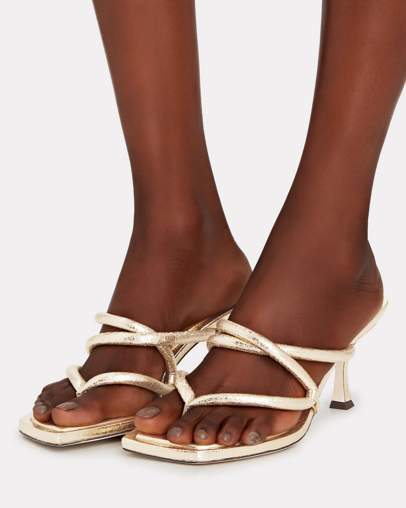 70 Puffy Leather Thong Sandals, GOLD,