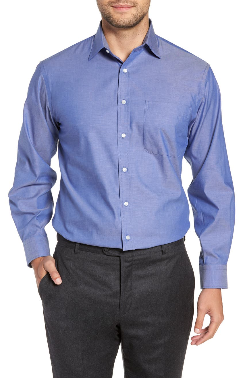 Classic Fit Non-Iron Solid Dress Shirt, Main, color, BLUE SURF