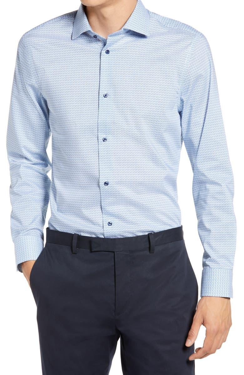 Extra Trim Fit Stretch Non-Iron Dress Shirt, Main, color, BLUE POWDER