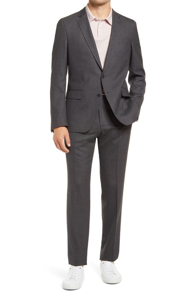 BOSS Herrel Grace Trim Fit Grey Stretch Suit, Main, color, OPEN GREY