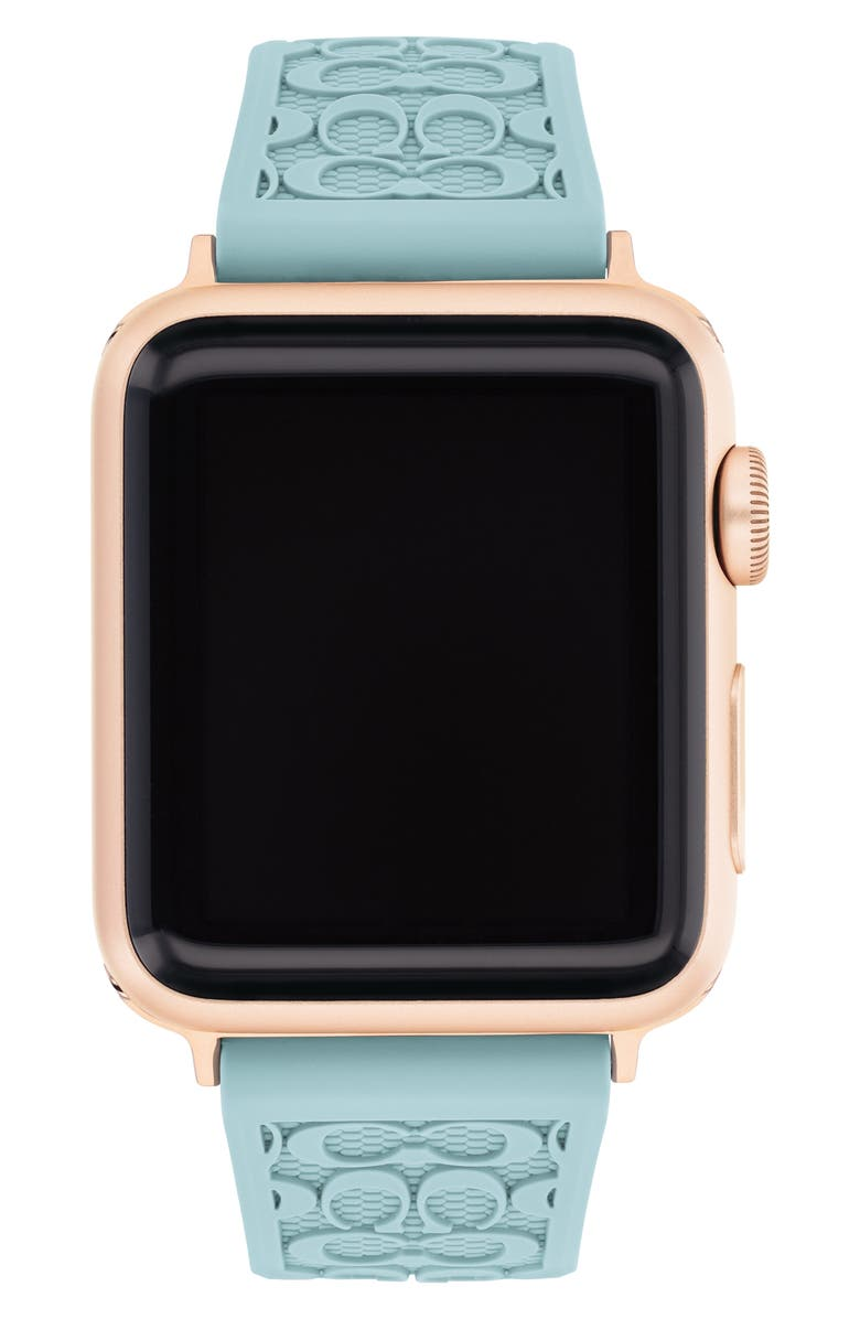 COACH Signature C Rubber Apple Watch® Strap, Main, color, TEAL