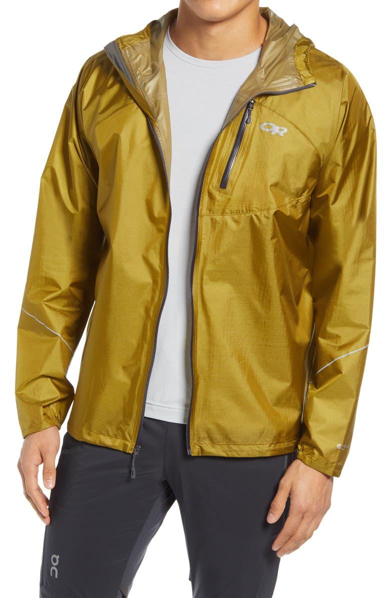 OUTDOOR RESEARCH Helium Waterproof Men's Rain Jacket, Main, color, LICHEN
