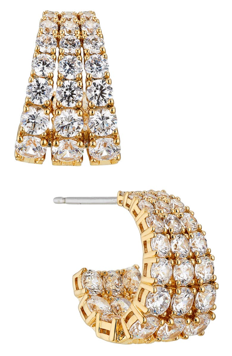 NADRI Cubic Zirconia Huggie Hoop Earrings, Main, color, GOLD