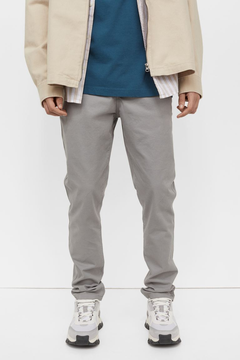 Skinny Fit Cotton Chinos - Gray - Men