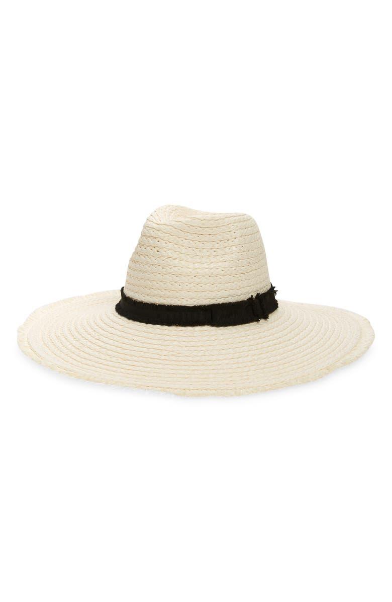 TREASURE & BOND Frayed Band Paper Straw Panama Hat, Main, color, IVORY COMBO