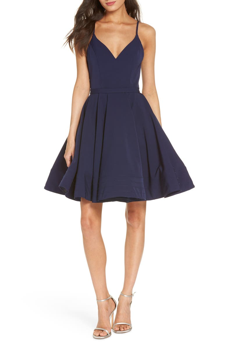 IEENA FOR MAC DUGGAL Fit & Flare Cocktail Dress, Main, color, NAVY