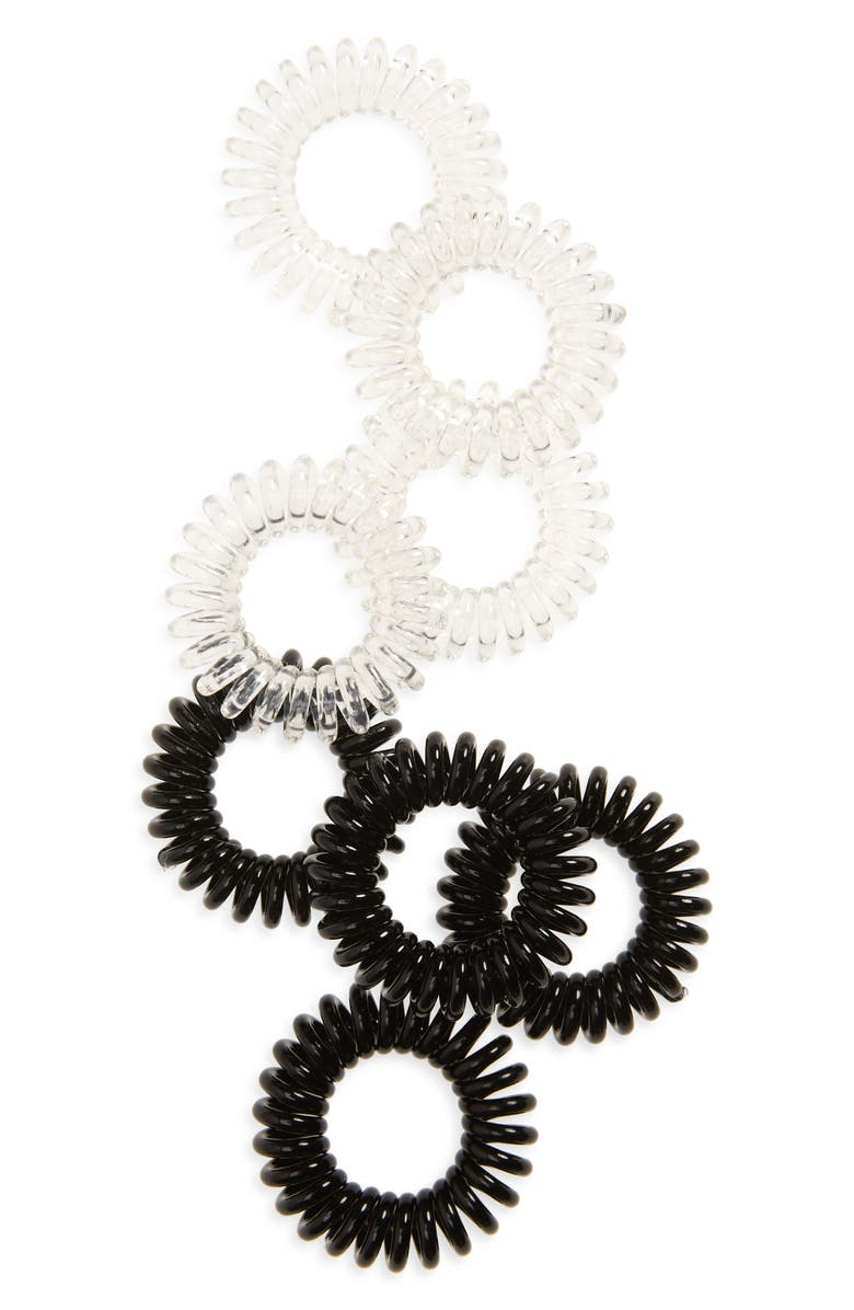 INVISIBOBBLE Assorted 8-Pack Coil Hair Scrunchies, Main, color, CRYSTAL CLEAR/ TRUE BLACK
