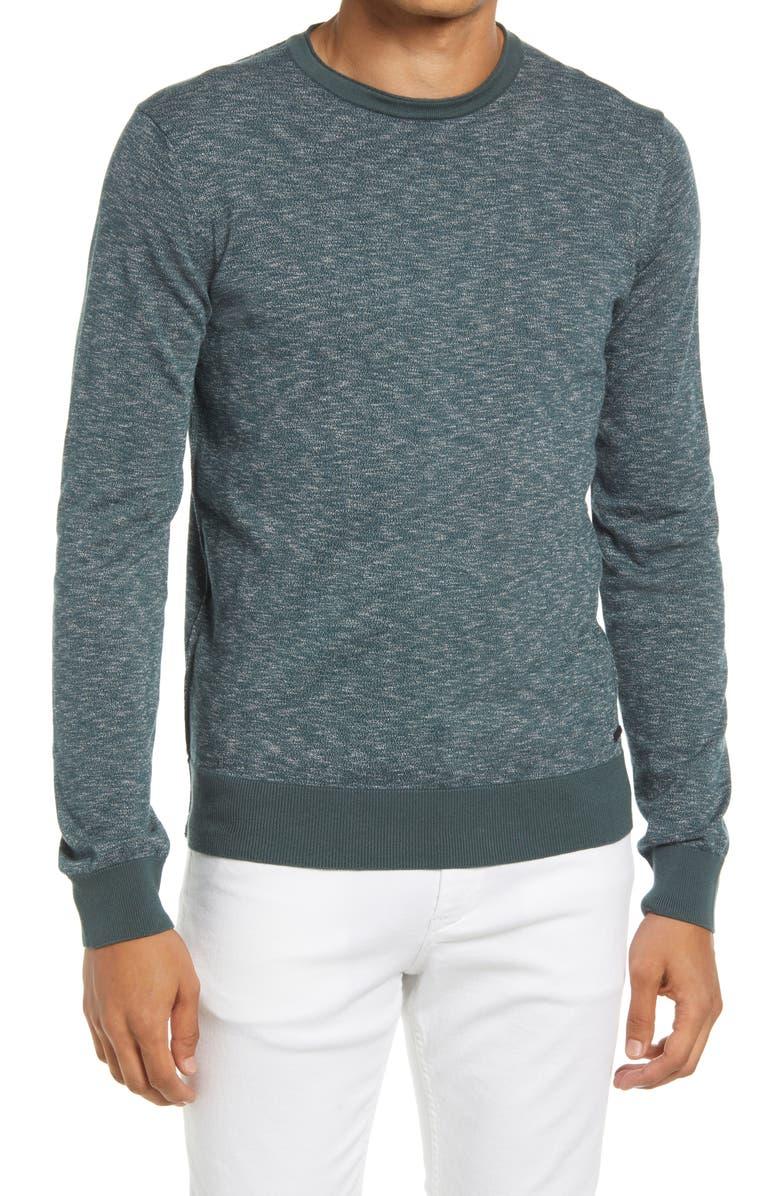 BOSS Komibo Slim Fit Crewneck Slub Cotton Sweater, Main, color, DARK GREEN