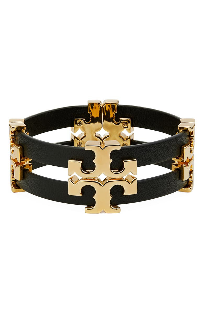 TORY BURCH Serif T Stacked Leather Bracelet, Main, color, TORY GOLD / BLACK