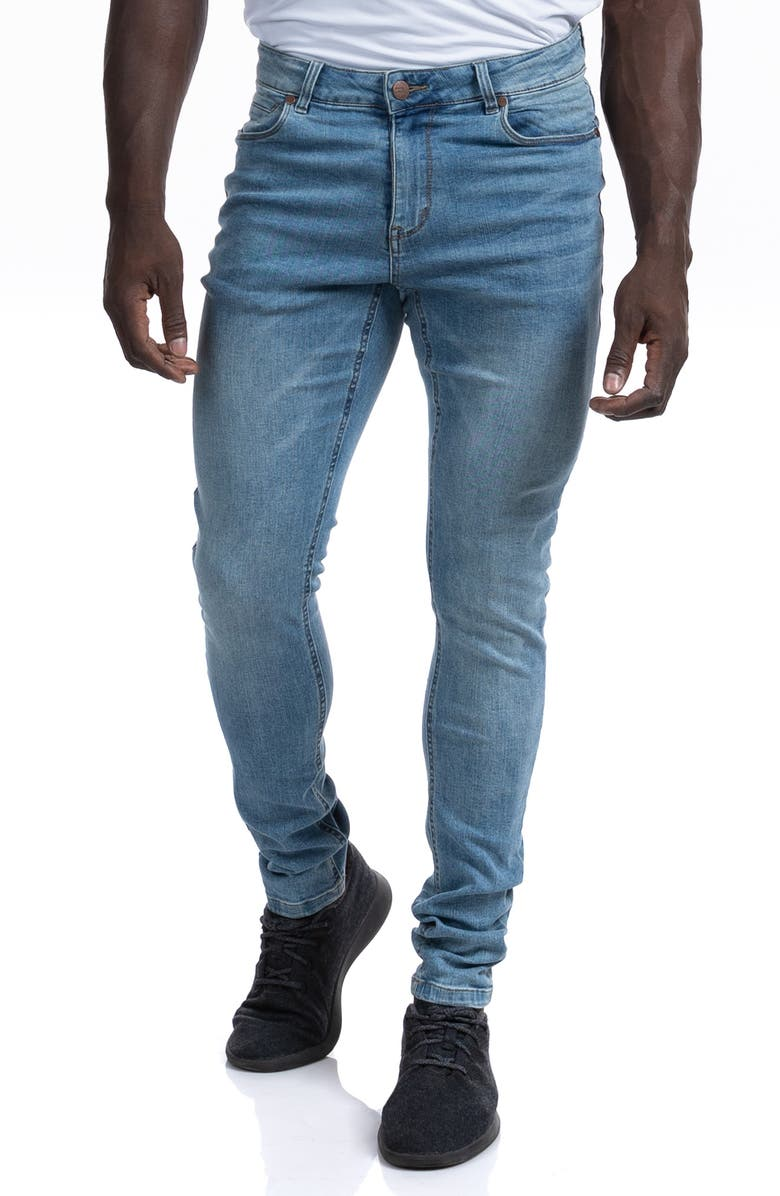 BARBELL APPAREL Straight Athletic Fit Jeans, Main, color, LIGHT WASH