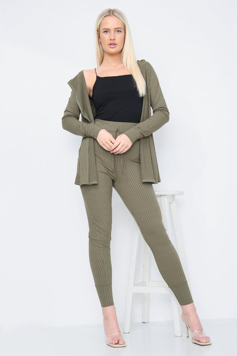 Khaki Green Ribbed Cardigan and Trousers Co-Ord Set