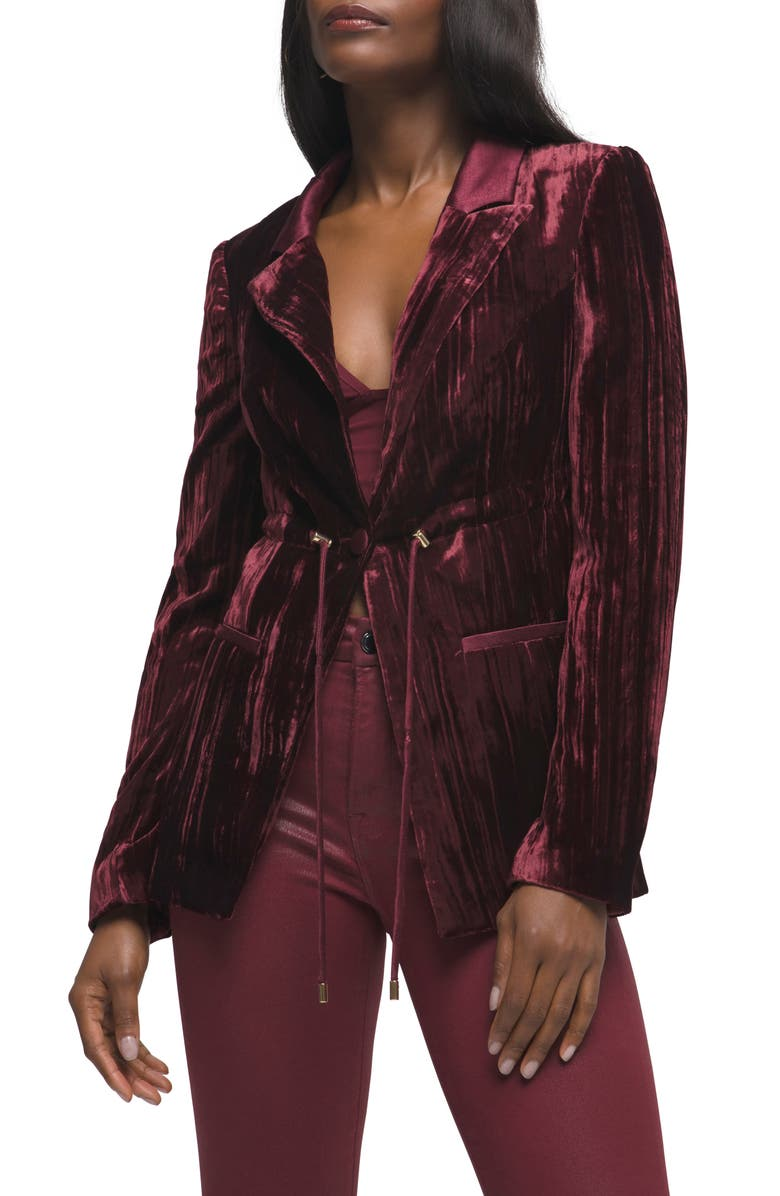 GOOD AMERICAN Drawcord Waist Velvet Blazer, Main, color, PORT
