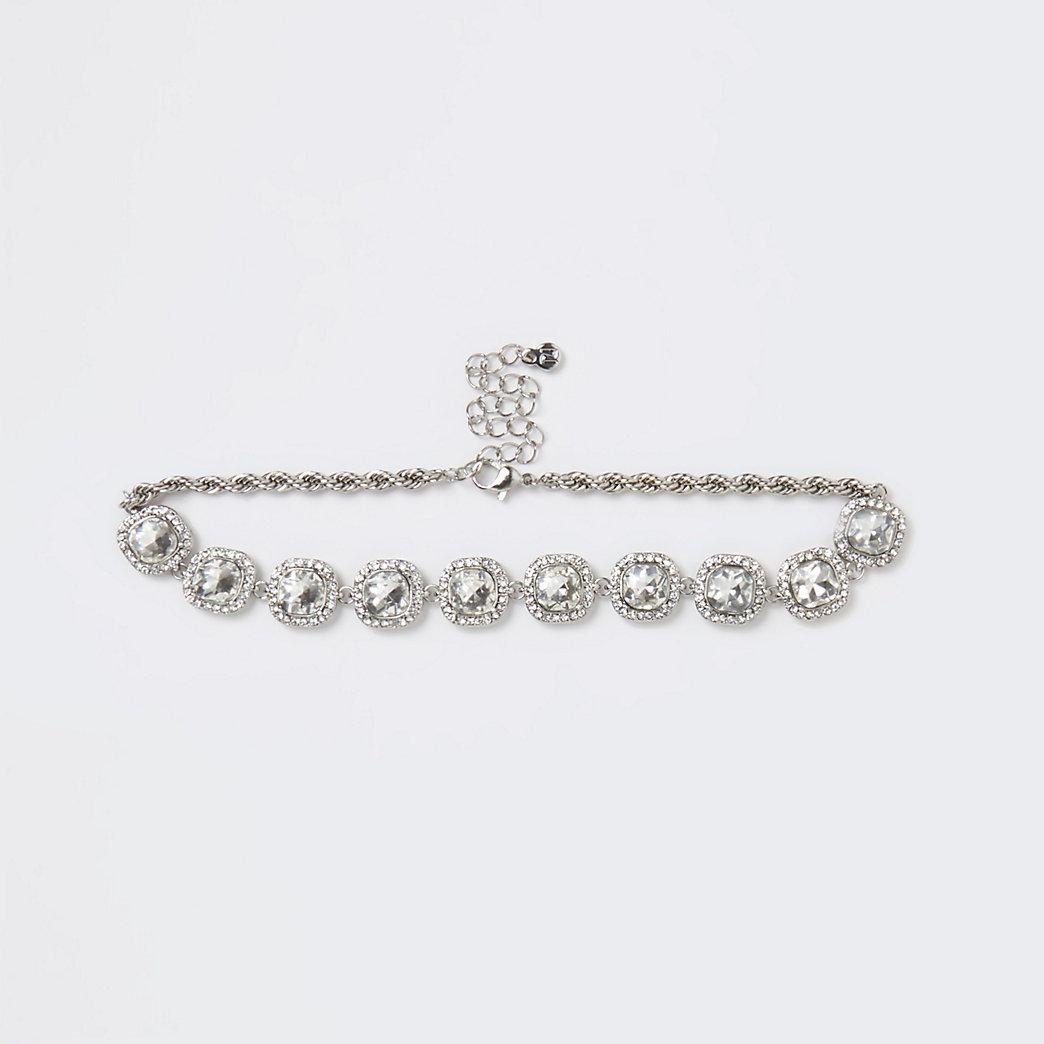 Silver crystal embellished choker necklace
