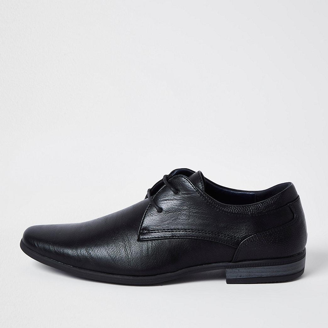 Black faux leather derby shoes