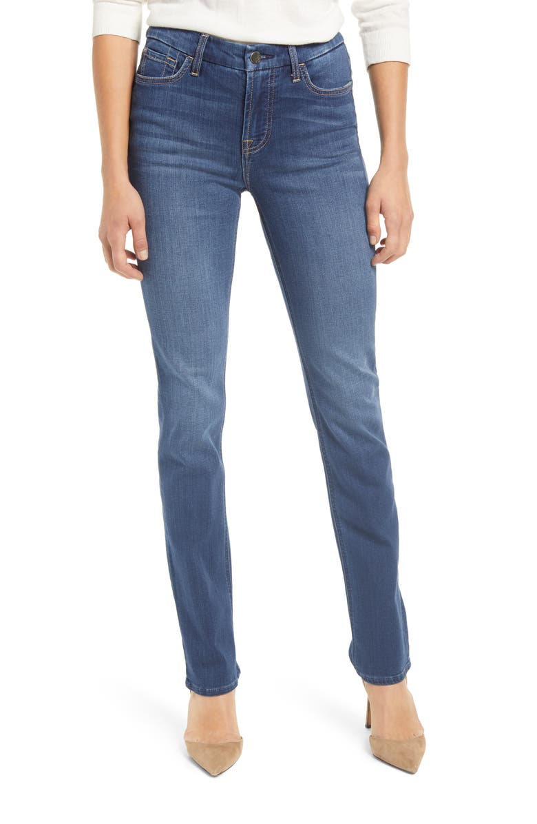 JEN7 by 7 For All Mankind High Waist Slim Straight Leg Jeans, Main, color, CLASSIC MEDIUM