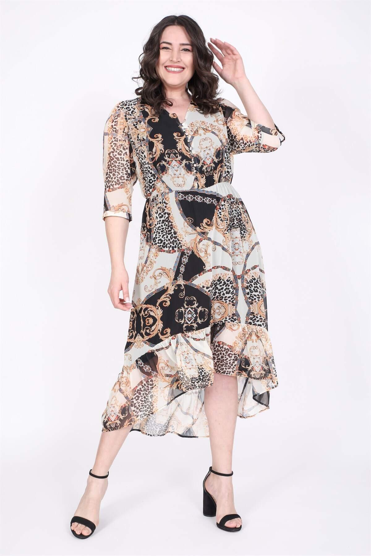 Women's Patterned Chiffon Dress