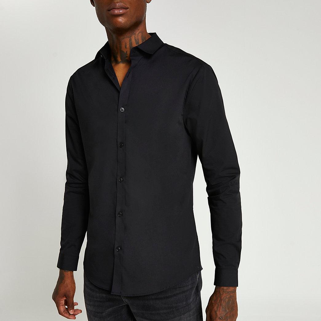 Black slim fit long sleeve shirt