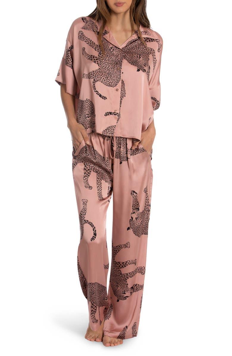 Bali Animal Print Satin Pajamas, Main, color, TAUPE