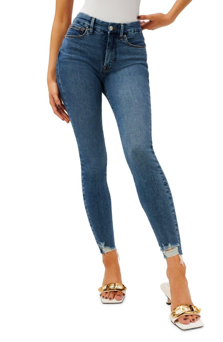 Good Legs Chewed Hem Skinny Jeans, Main, color, BLUE504NA
