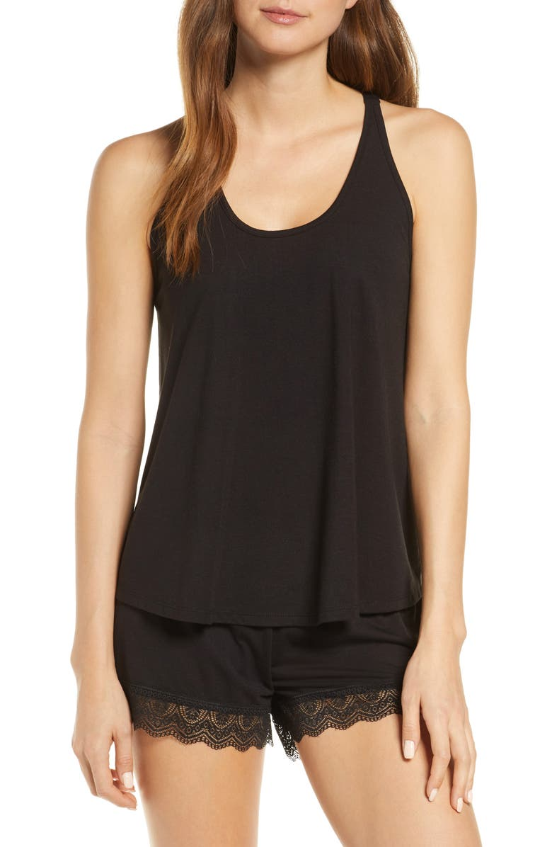 Stephanie Knit Short Pajamas, Main, color, BLACK