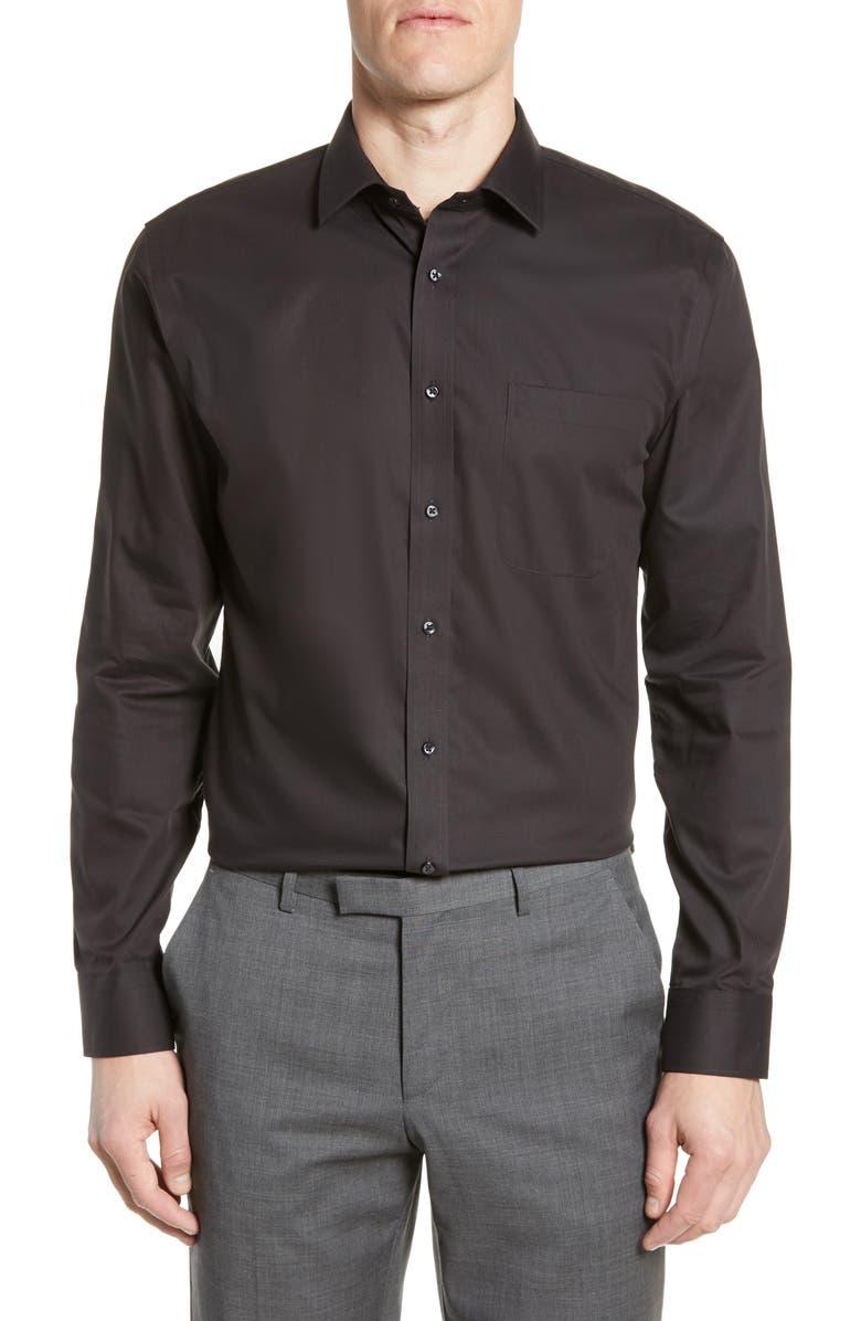 Trim Fit Non-Iron Dress Shirt, Main, color, BLACK
