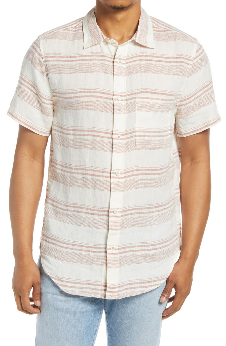 Perfect Stripe Linen Short Sleeve Button-Up Shirt, Main, color, WARM UMBER