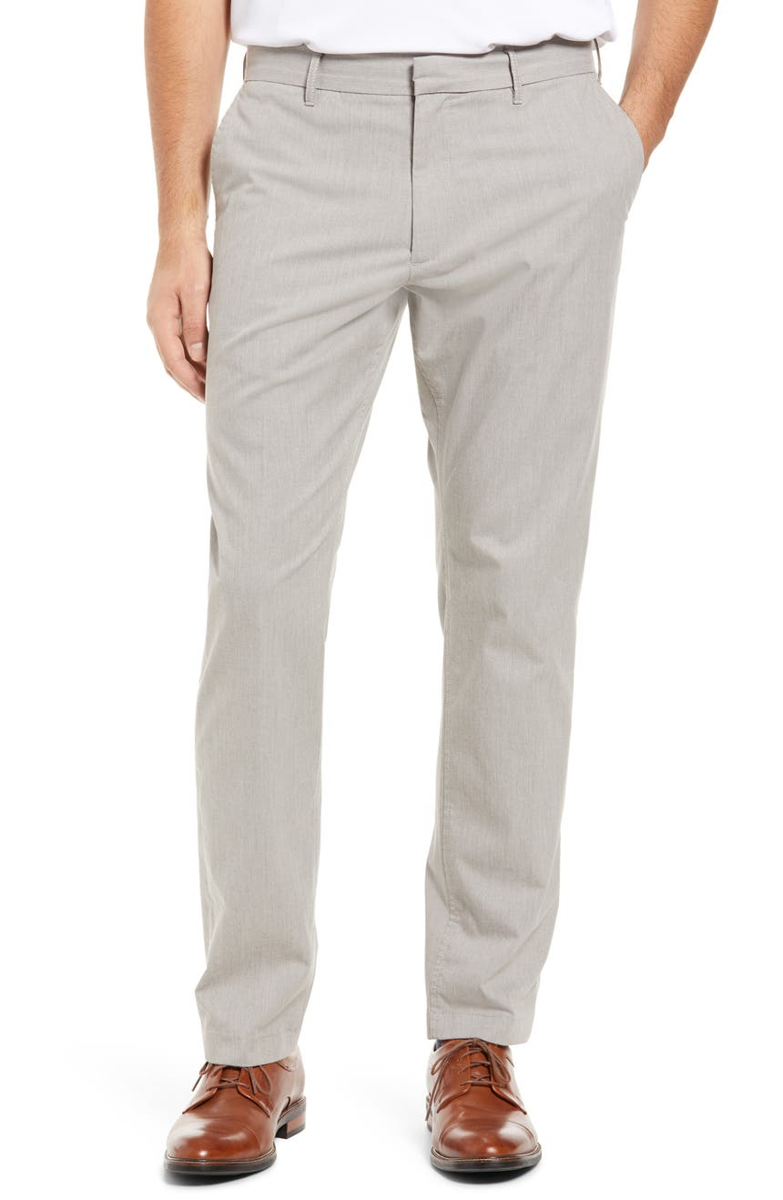 Athletic Fit CoolMax® Flat Front Performance Chino Pants, Main, color, GREY OPAL HEATHER