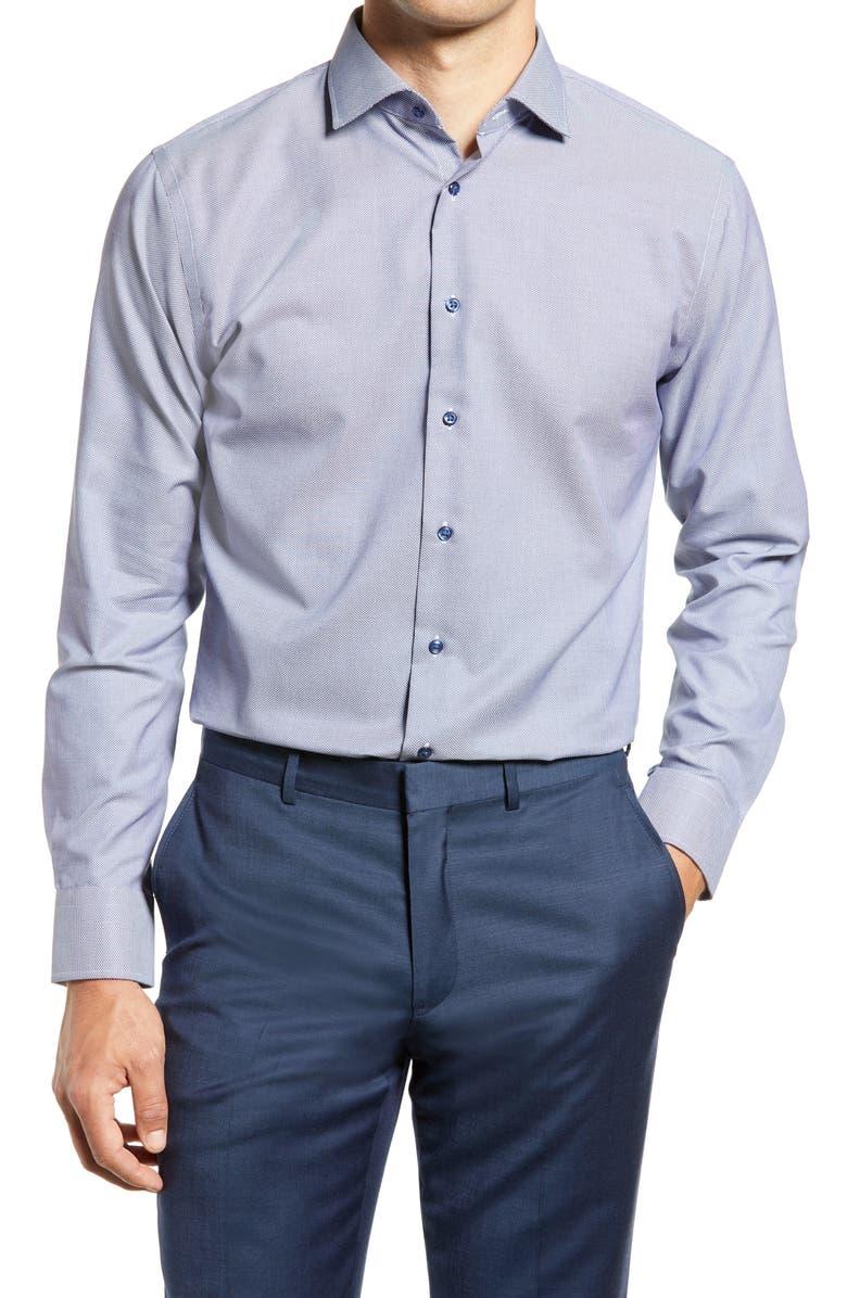 Trim Fit Non-Iron Dress Shirt, Main, color, BLUE TWILIGHT