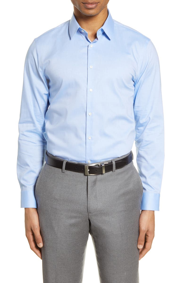 Extra Trim Fit Non-Iron Solid Stretch Dress Shirt, Main, color, BLUE AZURITE