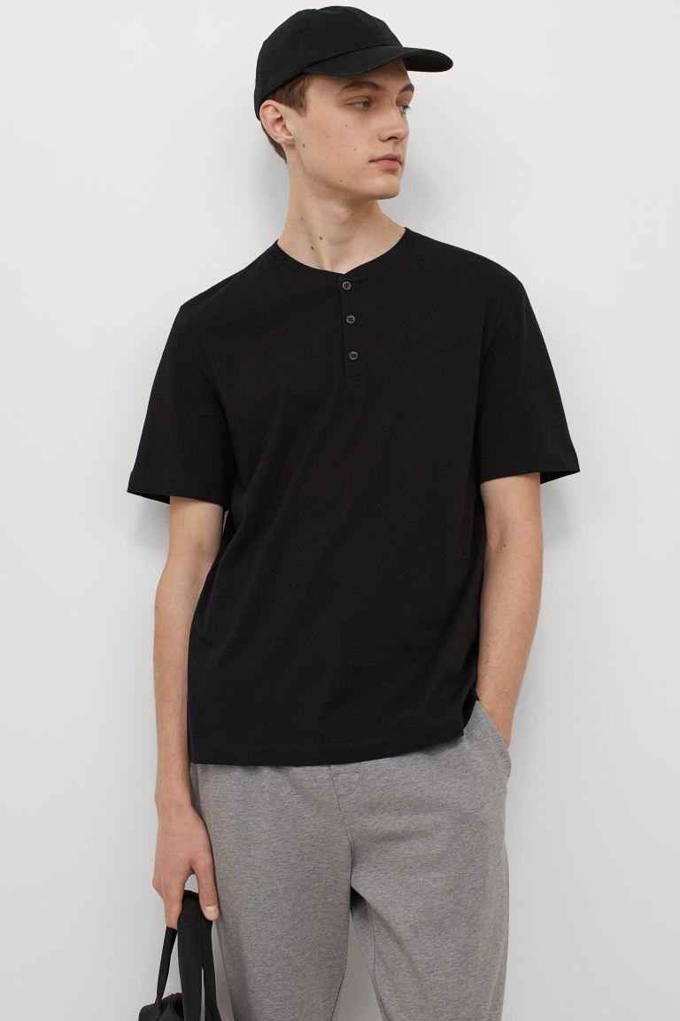 2-pack Henley Shirts - Black - Men   H&M US