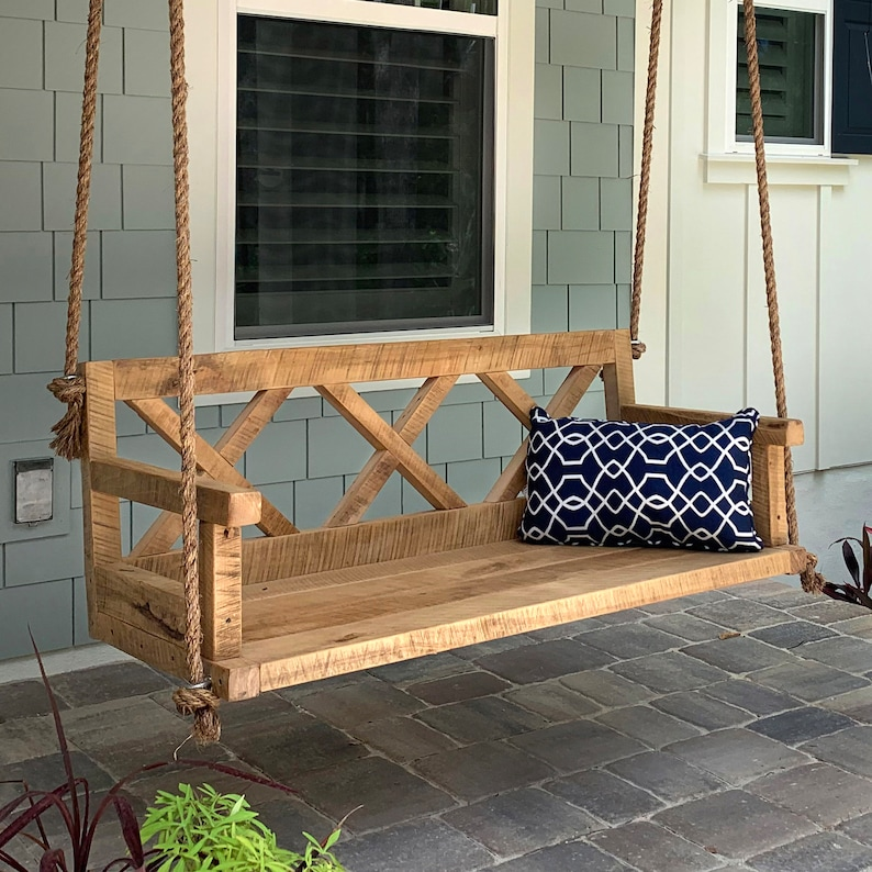 Porch Swing With Farmhouse Details  X Back  Outdoor Furniture