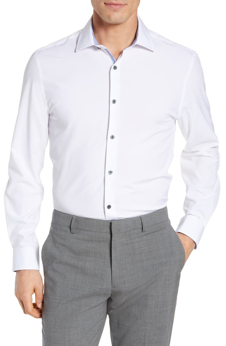 Trim Fit Solid Performance Stretch Dress Shirt, Main, color, WHITE
