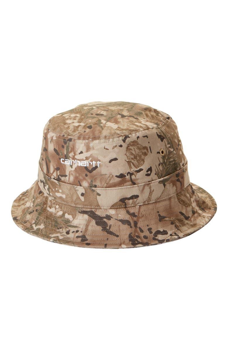 CARHARTT WORK IN PROGRESS Script Bucket Hat, Main, color, CAMO COMBI / DESERT / WHITE