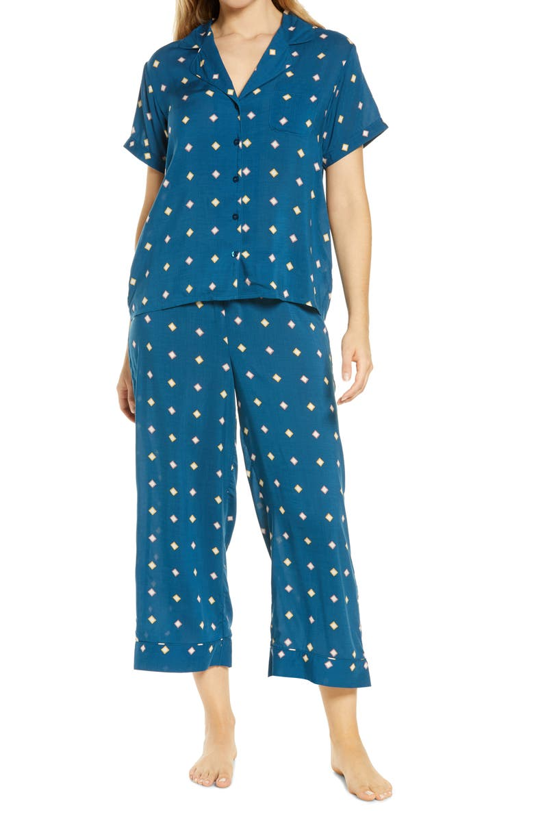 Lingerie Sweet Dreams Crop Pajamas, Main, color, BLUE POSEIDON OPTIC GEO SQUARE