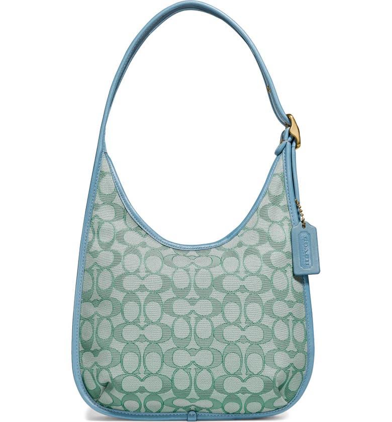 Ergo Signature Jacquard Shoulder Bag, Main, color, BRASS/ GREEN AZURE