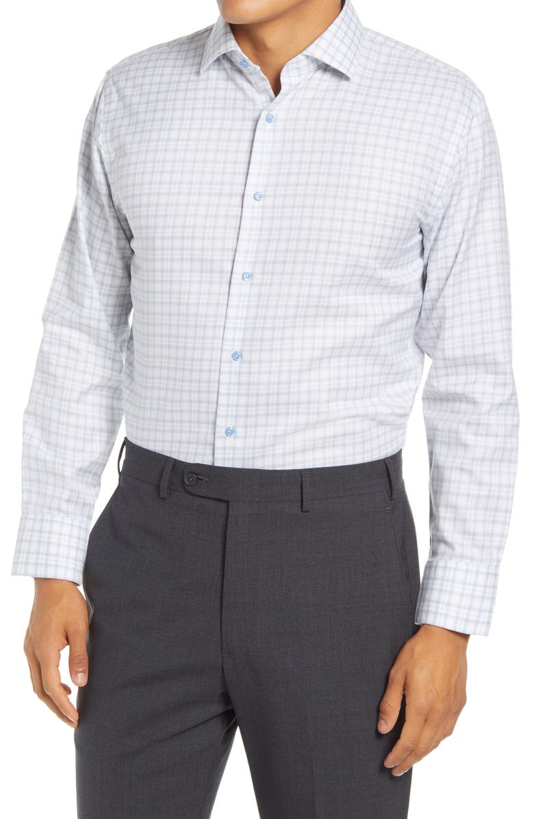 Trim Fit Plaid Stretch Non-Iron Dress Shirt, Main, color, BLUE GLASS