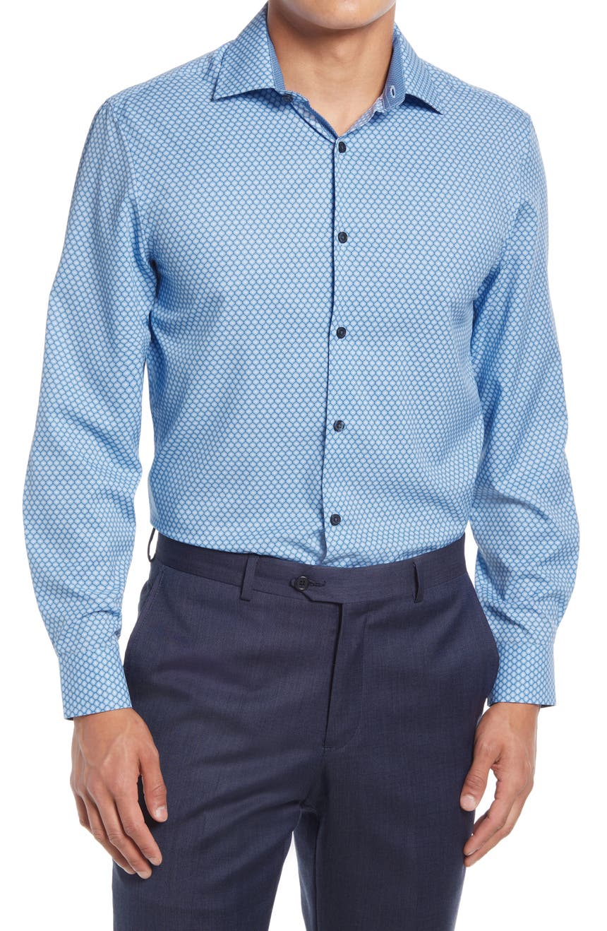 Trim Fit Concentric Circle Stretch Performance Dress Shirt, Main, color, Blue