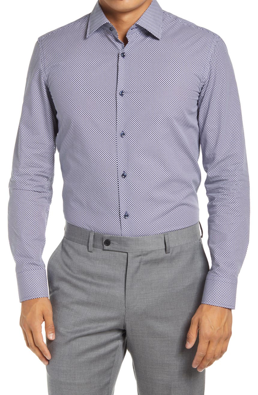Slim Fit Microprint Dress Shirt, Main, color, NAVY