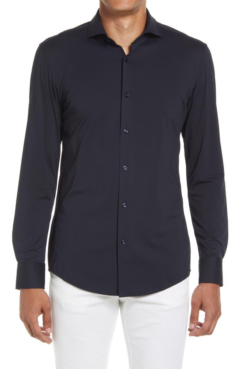Jason Slim Fit Stretch Travel Dress Shirt, Main, color, DARK BLUE
