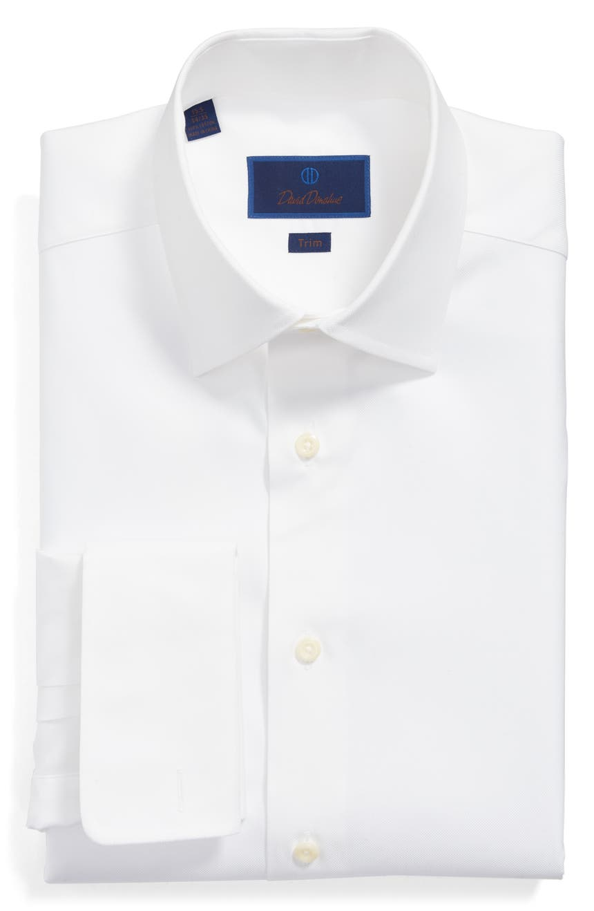 Trim Fit Solid French Cuff Cotton Dress Shirt, Main, color, WHITE