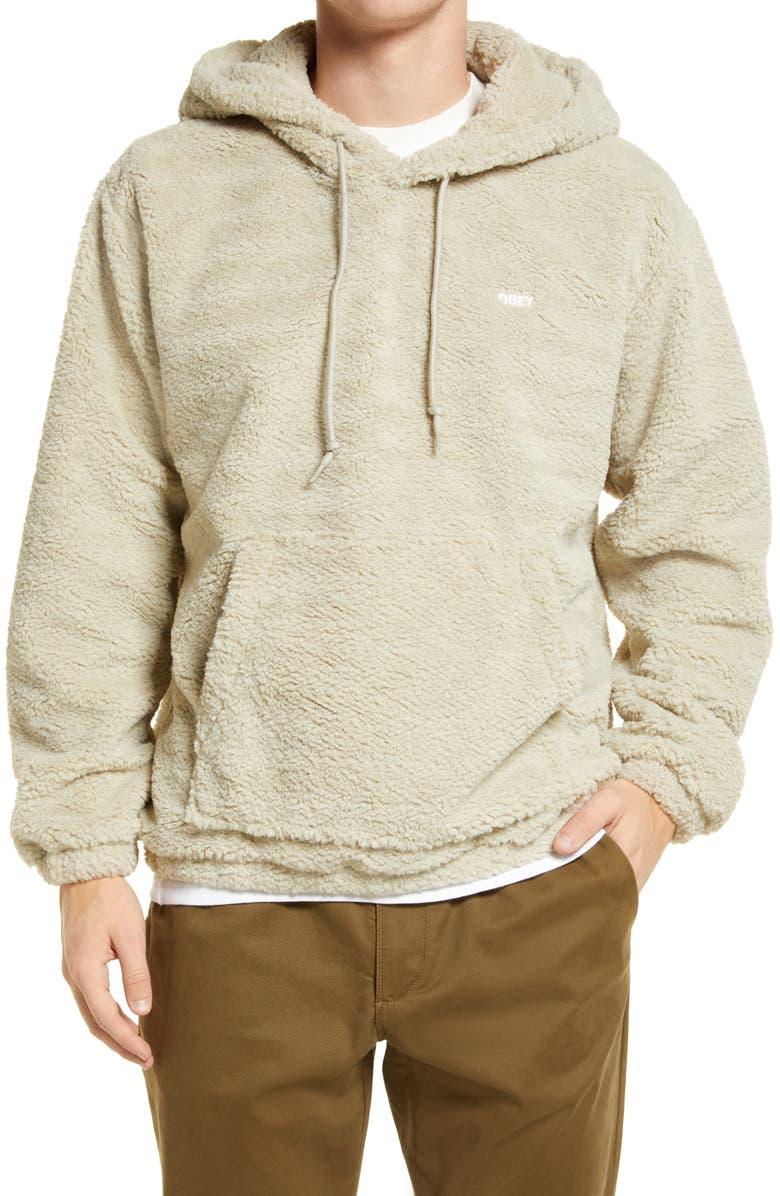 OBEY Gio Polar Fleece Hoodie, Main, color, SILVER GREY